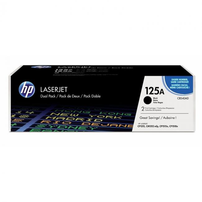 Image of HP 125A Black Dual Pack LJ Toner Cartridge, CB540AD