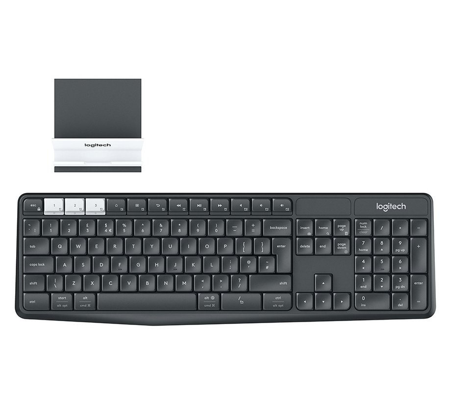 Image of Logitech K375s Multi-Device Wireless Keyboard and Stand Combo, Graphite, 920-008185
